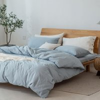 Yatak takımları Yatak Pamuklu Yıkanmış Katı Renk 3/4 ADET Ev Yatak Yorgan Kapak Sac Yastık Kılıfı