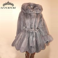 새로운 벨트 긴 소매 자연 밍크 여자 유형 칼라 코트 여성 겨울 따뜻한 두꺼운 진짜 모피 재킷 201208