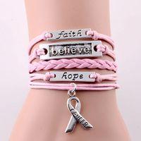 Infinity Love Glaube Glaube Hoffnung Krebs Brust Charme Armband Registrierte Justierbare Leder Armbänder Frauen Männer Schmuck