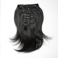VMAE Brazilian hair Indain hair 160g Yaki Virgin Remy Human Hair Extensions In Nature Color Clip ins