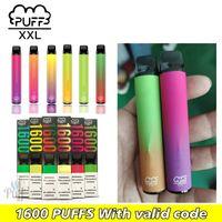 퍼프 XXL 사전 채워진 1600 퍼프 일회용 vapes 스틱 포드 장치 전자 cigs 스크래치 코드와 저렴한 가격