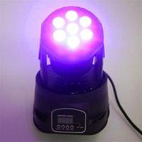İndirim 80 W 7-RGBW LED Oto / Ses Kontrolü DMX512 Mini Hareketli Kafa Sahne Lambası (AC 110-240 V) Siyah Yeni Yüksek Kalite Sahne Aydınlatma