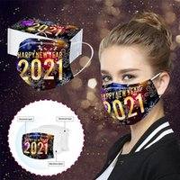 2021 Happy New Year Celebration Colorful Printed Adults Disposable FaceMask Dustproof And Breathable Protective Fashion Designer Mouth Masks
