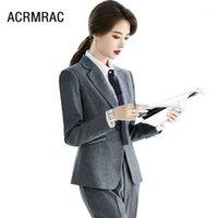 Abiti da donna Blazer Donne Donne Primavera Pantaloni a maniche lunghe Ufficio Lady Lady da lavoro formale Vestiti Donna Set 209171