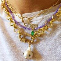 Kreatives Design Dame Charm-Anhänger Halskette Barock natürliche Perle Art und Weise verdrehte Kette Schmuck handgemachte Partei Trend Zubehör 200929