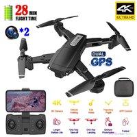 الطائرات بدون طيار 5 جرام واي فاي GPS RC بدون طيار مع 4K HD كاميرات مزدوجة زاوية واسعة الزاوية الهوائية الجوي حياة طويلة جدا أربعة محور التحكم عن بعد كوادكوبتر