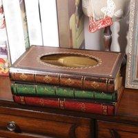 Cajas de pañuelos Servilletas Book Shape Box Min Lujoso Retangle Napkin Papel Holder Titular Almacenamiento Elegante decoración del hogar