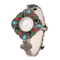2020 Nouvelle Montre Bracelet Femmes arc-en-cadeau populaire Résine Antique Argent Couleur Bohème Bijoux
