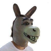 مضحك الكبار زاحف مضحك حمار الحصان رئيس قناع اللاتكس هالوين الحيوان تأثيري حديقة الدعائم حزب مهرجان زي mask1