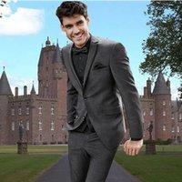 VEIAI Erkekler Suit Derin Gri Erkek Düğün Takım Elbise Custom Made Üç Parça Düğün Groomsmen Smokin için Ucuz Erkekler Suit1