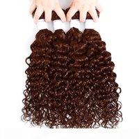 Virgin cuticules Alignés cheveux péruvienne Vague Bundles Lumière brun foncé de couleur Remy prolongements de cheveux humains