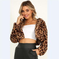 여성 표범 인쇄 코트 겨울 따뜻한 가짜 모피 세련된 짧은 재킷 카디건 outwear 탑 아시아 크기