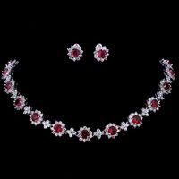 all'ingrosso lusso zircone cubico zircone cristallo gioielli da sposa set collana orecchini set per le donne gioielli festa di nozze
