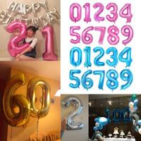 """40 дюймов 40 """"Большая фольга Номер воздушных шаров Гигантские номера 0-9 поплавок шариковых шариков на день рождения день рождения свадьба Новый год декор E122301"""