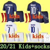 Mailleots de Football France 2020 2021 Soccer Jersey Mbappe Grizmann Equipe de France 20 19 Kante Pogba Enfant Kids Kit Oryms Socks