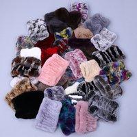 Women Real Handmade Stretch Scarf Knit Genuine Rex Rabbit Headbands Girls Natural Fur Ring Cowl Snood Scarves Winter 201021