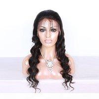 HD frontal del cordón peluca de pelo humano transparente lacefront bruto peluca Cuerpo Virgen brasileña barata del pelo del cordón de onda completa para las mujeres Negro