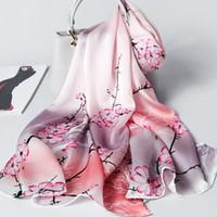 Atkılar Lüks Ipek Eşarp Kadın Tasarımcı Çin Geleneksel Stil Çiçek Şallar Bayanlar Sarar Foulard