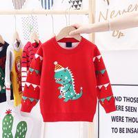 Pull pour enfants Automne hiver Noël Dinosaur Jacquard Épaississement Vêtements Pour Filles Coton Toddler Bébé Girl Girls Pull Pull