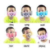 Máscaras urso do miúdo dos desenhos animados máscara facial com Plush Ear Protective Grosso cobrir a boca Crianças Boca Rosto Inverno Máscara Máscara Outdoor Dustpoof Rosto