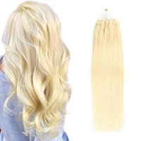 """0,5G / S 100 Strand Silicone Micro Extensões do Cabelo Grânulo # 60 Remy Remy Human Human Hair Loop Micro Anel Platinum Loira Natural Humano Humano 16-22 """""""