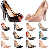 القيعان الأحمر عالية الكعب منصة مضخات الأحذية عارية البراءات السوداء الجلود زقزقة تو النساء اللباس الصنادل الزفاف الأحذية بيع على الانترنت