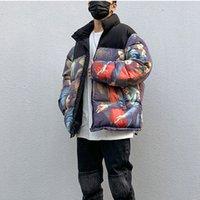 블랙 색상 기름 칠한 겨울 코트 남성과 여성은 하이 스트리트 컬러 블록 캐주얼면 패딩 자켓 느슨한 파카 스탠드