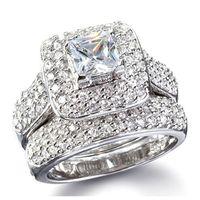 Dimensione 5/6/06/08/9/10 Gioielli Principessa Taglio 14kt Bianco Gold Gold Full Topaz Gem Simulato Diamante Diamante Donne Anello di fidanzamento Set Regalo 34 N2