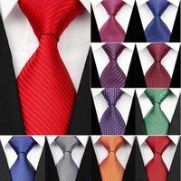 Mode solide rayé pour les hommes d'affaires cravates Costumes de mariage Cravates Homme Accessoires de Woven Jacquard Rouge Bleu Slim Gravatas