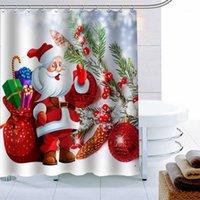 새로운 도착 메리 크리스마스 샤워 커튼 12 후크 폴리 에스터 패브릭 3D 인쇄 욕실 커튼 방수 목욕 장식 1