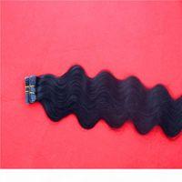 Ruban adexsers de cheveux humains trame de peau réel remy brun s2g stand 40pcs pack ruban en cheveux raides