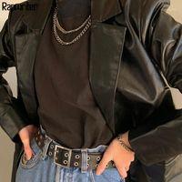 Kadın Takım Elbise Blazers Moda PU Siyah Boy Bayanlar Takım Elbise Deri Blazer Kadınlar 2021 Down Yaka Uzun Kollu Ceket Femme Vintage Wint