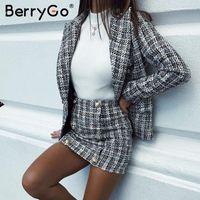 BerryGo Elegant buttons tweed plaid skirt women Vintage straigt autumn mini skirt female Office ladies winter work wear skirts
