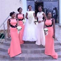 Country Style sirène de demoiselle d'honneur robes noires filles dentelle élastique satin South appliques Afican sirène Bridemaid robe de soirée de mariage pour 100