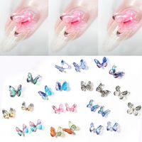Nail Art Decorations 2pcs Glitters Manicure Tools DIY Nails Smycken 3D Butterfly Rhinestones Stickers