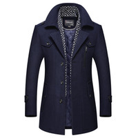 Men Designer Winter Wool Long Trench Coats Mens Thick Warm Wool Blends Woolen Pea Coat Scarf Decoration Male Trench Coat Overcoat 4XL