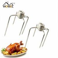 2 stks BBQ-vorken Iron Chrome Plated Rotisserie Vorken Spit Charcoal Chicken Grill voor Rotisserie Barbecue Accessoires Keuken Tool T200111