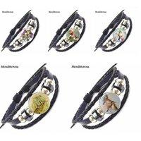 Trois amis de plumes oiseau chanteur Cabochon Cabochon noir Bracelet en cuir noir Bracelet Vintage Bijoux faits à la main pour les femmes Raskok1