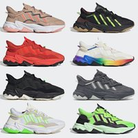 adidas Ozweego   رجل إمرأة الاحتفال الأحذية المسجلة طبقات عصر عاكس xeno أسود مشرق سماوي بوشا تي المدربين النساء الرياضة أحذية رياضية 36-45