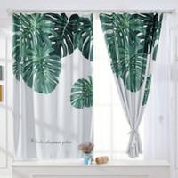 Grüne tropische Pflanzen gedruckt kurze Vorhänge für Küche Modern Vorhang Wohnzimmer Schlafzimmer Floral Tuch Drapes Fensterbehandlung Dekor