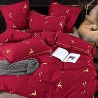 ALANNA SL-ALL Сплошной сладкий стиль маленький красный цвет сердца цветок растение листьев и животных напечатаны 4 / 7шт постельное белье с разным цветом T200706