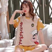 Bzel Cute Crayon Shin-Chan Print Летняя пижама набор для женщин Свободные повседневные спящие одежды Футболки и шорты PJS большой размер домашний костюм Y200708