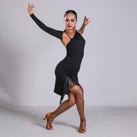 Стадия носить кисточку женщины танго сальса CHA бальные практики сексуальное латинское танцевальное платье Rumba Samba Performance платья костюма