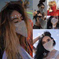 Trendy Reticulated Rhinestone Yüz Maskesi Kadın Vintage Bling Kristal Nefes Ağız Popüler Takı Hediyelik Parti Dekoru Maske