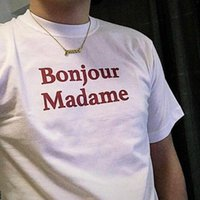 Bonjour Madam Kırmızı Mektuplar Kadın Tshirt Pamuk Rahat Komik T Gömlek Lady Yong Kız Için Üst Tee Bırak Gemi S-178