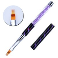 Lila UV Gel Nail Art Pinsel Strass Griff Malerei Stiftzeichnung Gradientenstreifen Lines Liner Ombre Pinselshipping