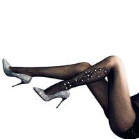 2021 Новые сексуальные бриллианты Чулки Мода Леди Цветочные Вышивка Чулиные изделия Зимние Длинные Колготки Теплые Утечки Ноги Чулки