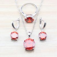 Moda sposa Bridal Jewelry Set per le donne di colore argento rosso granato orecchini rotondi / collana / pendente / Formato dell'anello S11