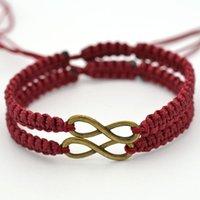 Браслеты очарования ручной работы бронзовая бесконечность веревка цепь модный подарок для женщин DIY ювелирные изделия заплетенные плетеные пульсиры