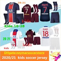 Miúdos 20 21 Paris Mbappe Camisas de futebol Kits 2020 2021 Paris Maillot de pé Icardi conjunto completo de futebol